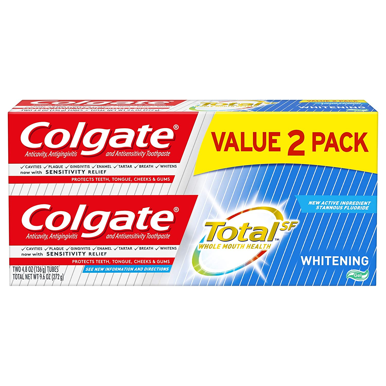 Colgate Total Whitening Toothpaste Gel, 4.8 Oz (2 Pack)