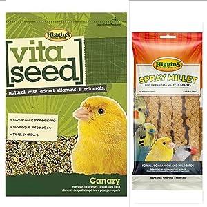 Higgins Vita Seed Canary Bird Food Bundle, includes 1-5 lb. Bag Vita Seed Canary Bird Food & 1-6 ct Millet Spray, Fast, by Just Jak's Pet Market