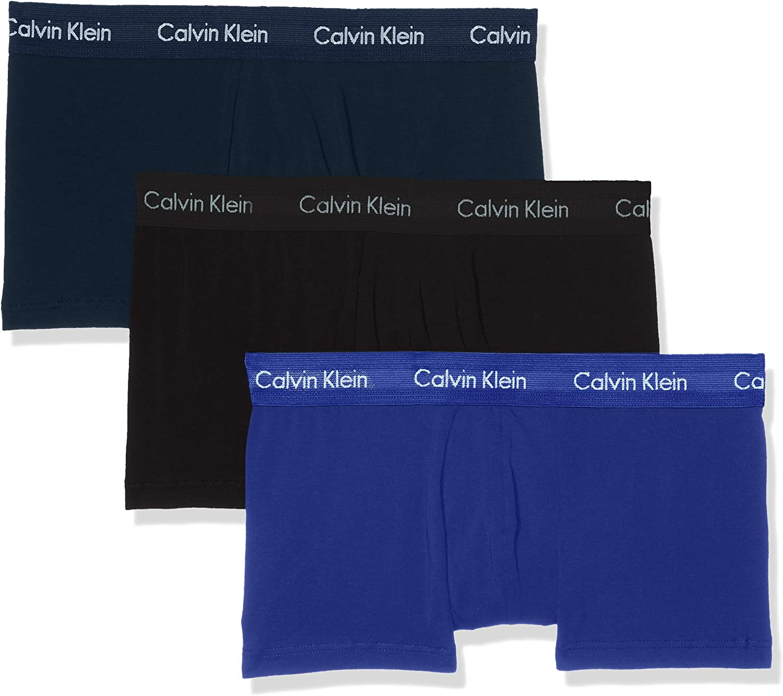 Calvin Klein Men's 3 Pack Low Rise Trunks, Blue