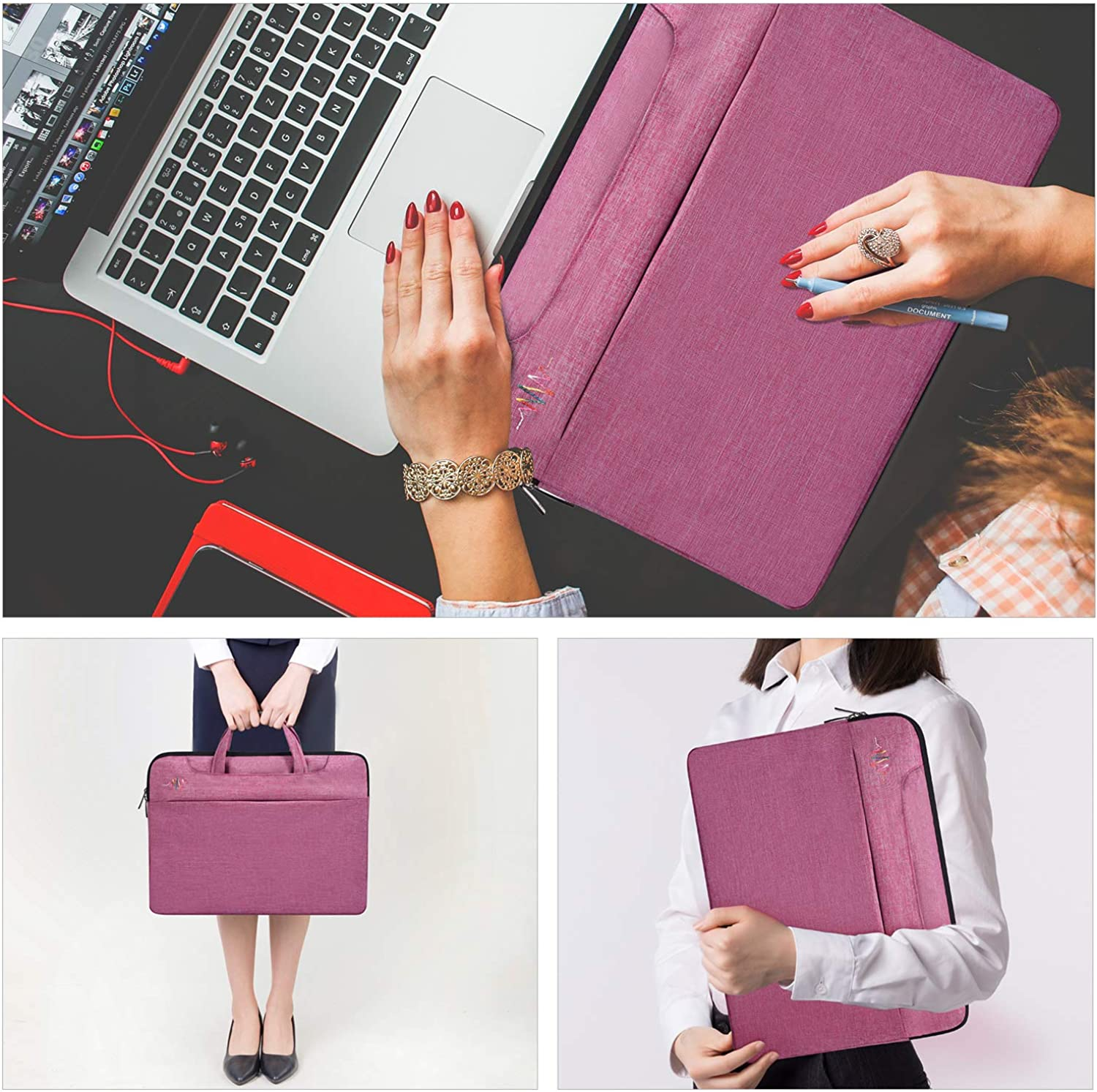 Laptop Bag Berry Pattern Cherry Cherries 15-15.4 Inch Laptop Case College Students Business People Office Workers Briefcase Messenger Shoulder Bag for Men Women