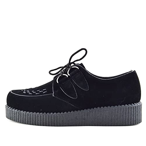 f9210ef1070e Kick Footwear - MENS FLAT BLACK PLATFORM TEDDY BOY LACE UP GOTH PUNK  CREEPERS SHOES BOOTS
