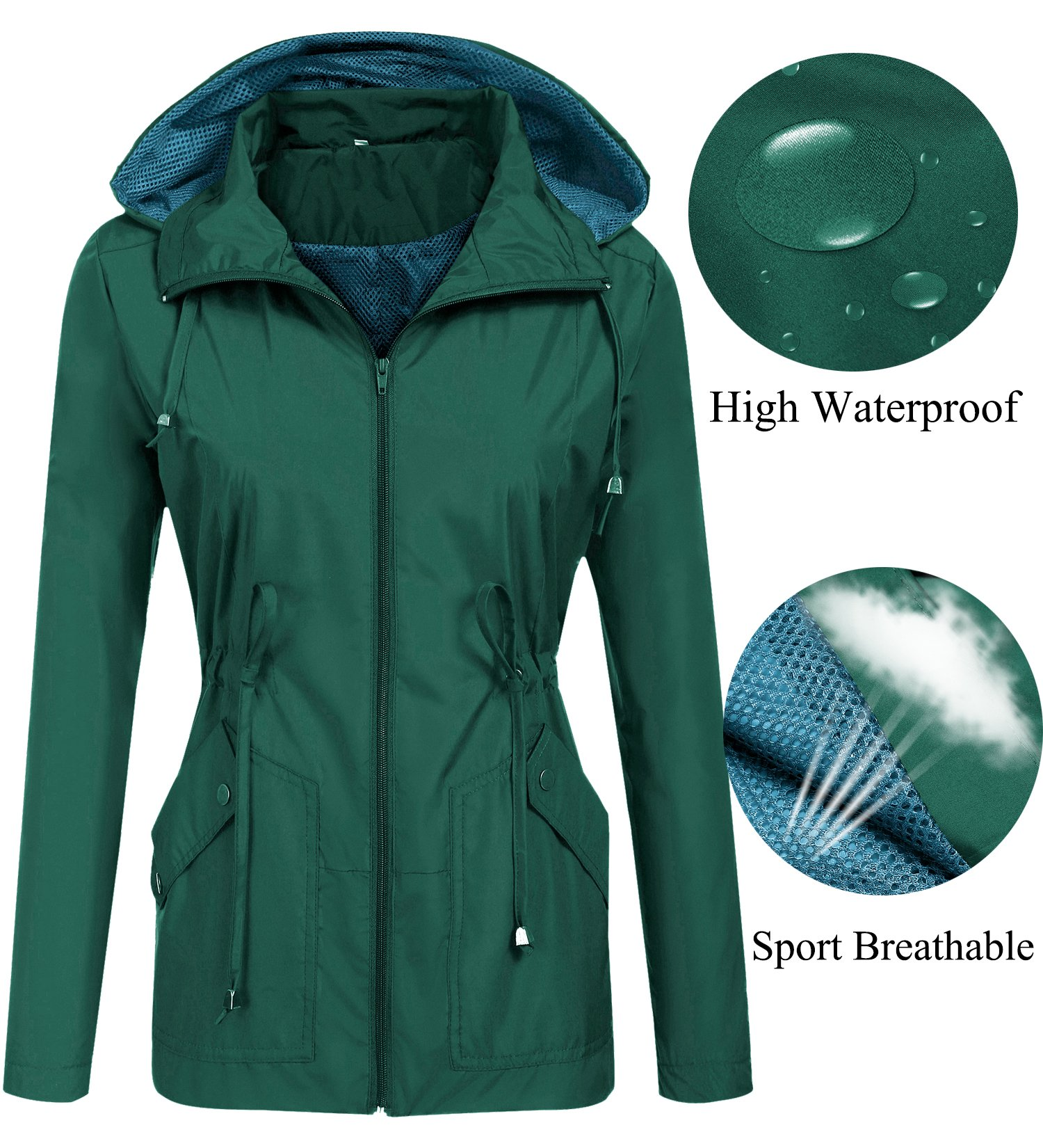 LOMON Breathable rain Jacket Lightweight for Women Hiking Running Packable Outdoor Active