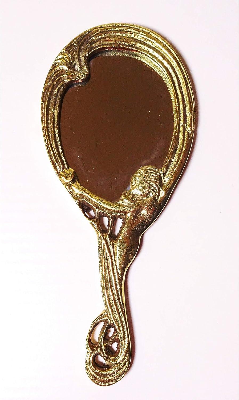 Handspiegel Schminkspiegel Messing Jugendstil Antik-Design Kosmetik-Spiegel gold