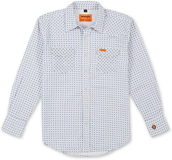 Wrangler Riggs Workwear Flame Resistant Western Long Sleeve Two Pocket Snap Shirt Camisa Work Utility para Hombre