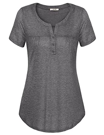 d5f89daf690 Vivilli Blouse Tops for Work Women Summer Casual Tops and Blouses Plus Size  Blouses Pleated Casual Tunic Tops (XX-Large,Dark Grey): Amazon.co.uk:  Clothing