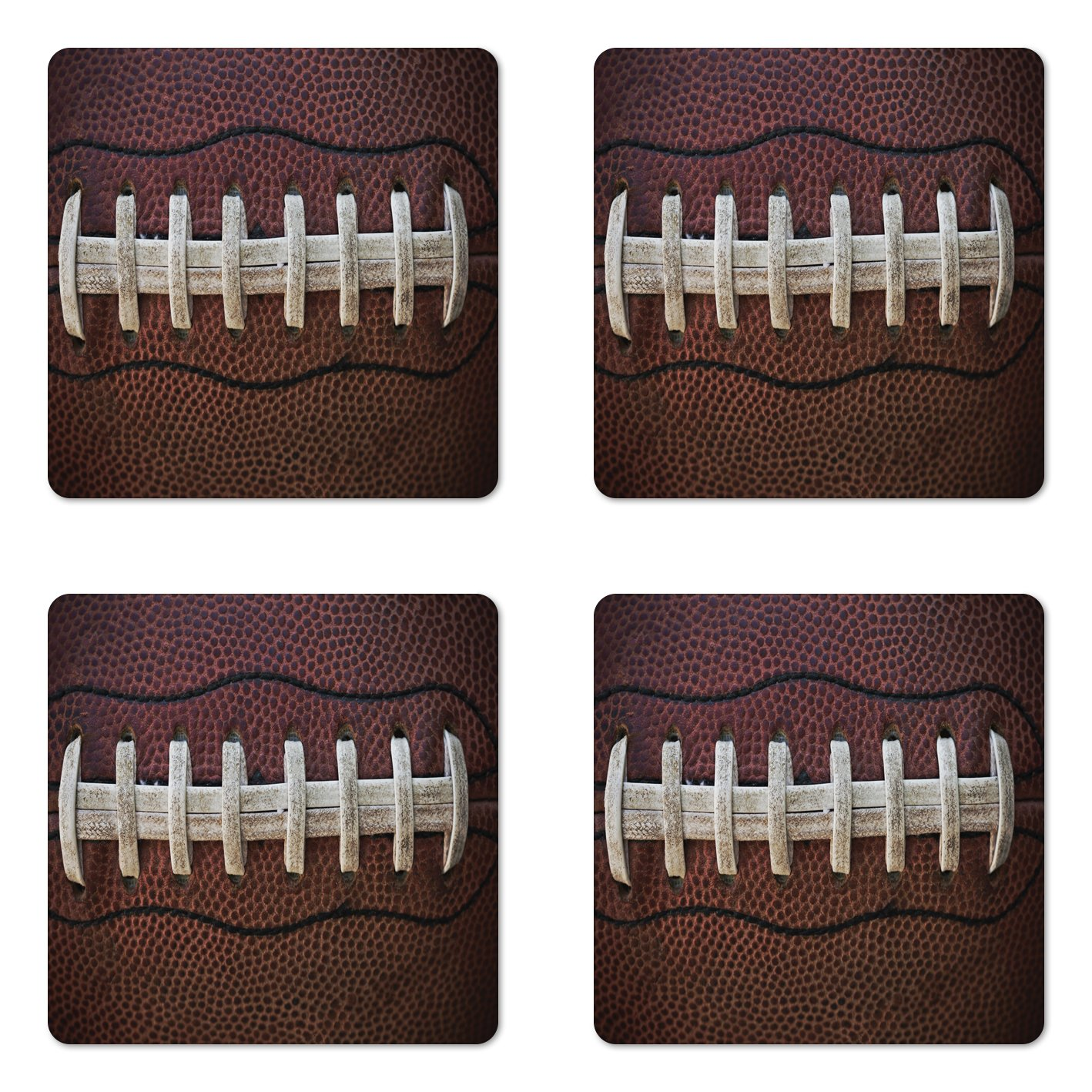 Lunarable Sports Coaster Set of Four, American Football Leather Laces Fun Traditional Sport Close Up Photo Print, Square Hardboard Gloss Coasters for Drinks, Dark Brown Beige