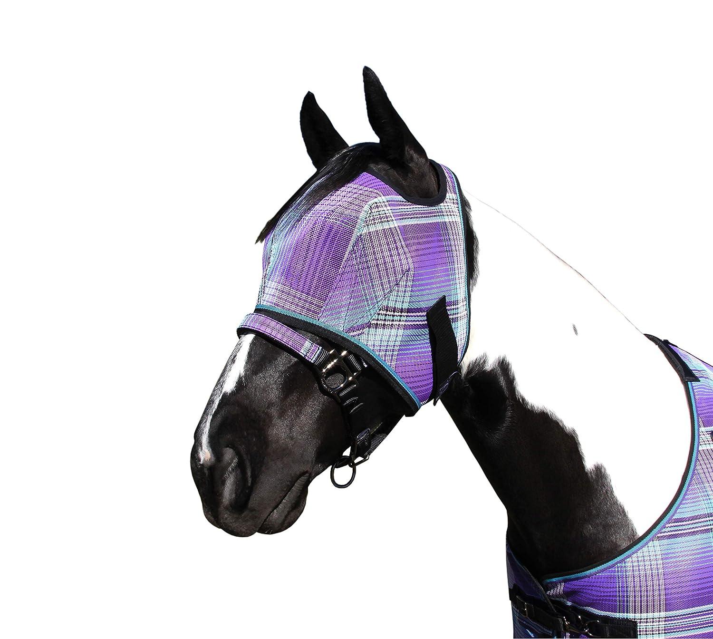 Kensington フライマスク ウェブトリム Mint Plaid - Plaid 馬の顔と目の虫や紫外線を完全に視認性 - 耳と前腕を最大限に遮断し、マスクを貫通させます。 B0711C2HPJ Large|Lavender Mint Plaid Lavender Mint Plaid Large, ミョウドウグン:24f916a2 --- ijpba.info