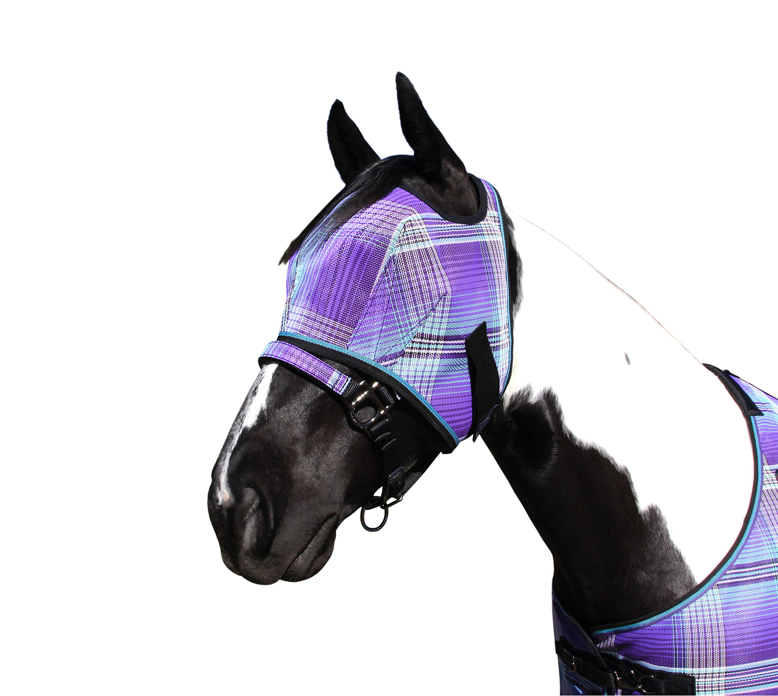 Kensington Fly Mask Web Trim - Protects Horses Face and Eyes from Biting Insects and UV Rays While Allowing Full Visibility - Ears and Forelock Able to Come Through The Mask (Medium, Lavender Mint)