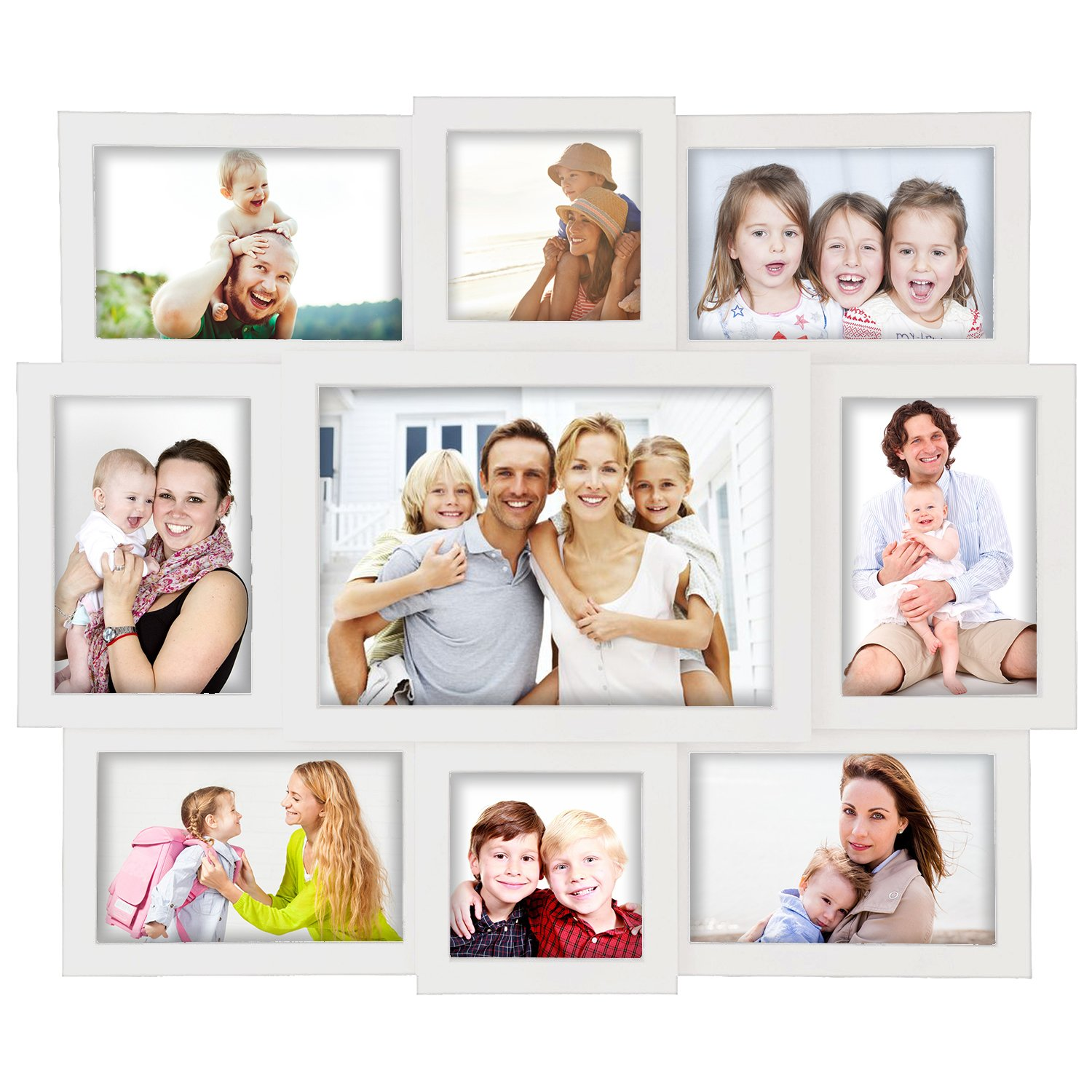 Photo Frame 16x19 White Picture Frame Selfie Gallery Collage Wall Hanging for 6x4 Photo Wall Mounting Design 9 Photo Sockets Jerry /& Maggie