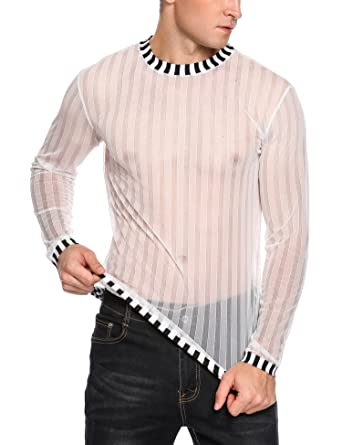 b561b5b3 COOFANDY Men's Sexy See Through Top Fishnet Clubwear T-Shirt Mesh  Undershirts,White,