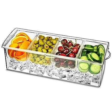 El hielo cóctel Decorar Dispensador | bar@drinkstuff 4 Compartimiento Dispensador de condimentos, refrigerada