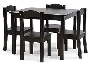 Tot Tutors TC824 Espresso Collection Kids Wood Table & 4 Chair Set, Espresso