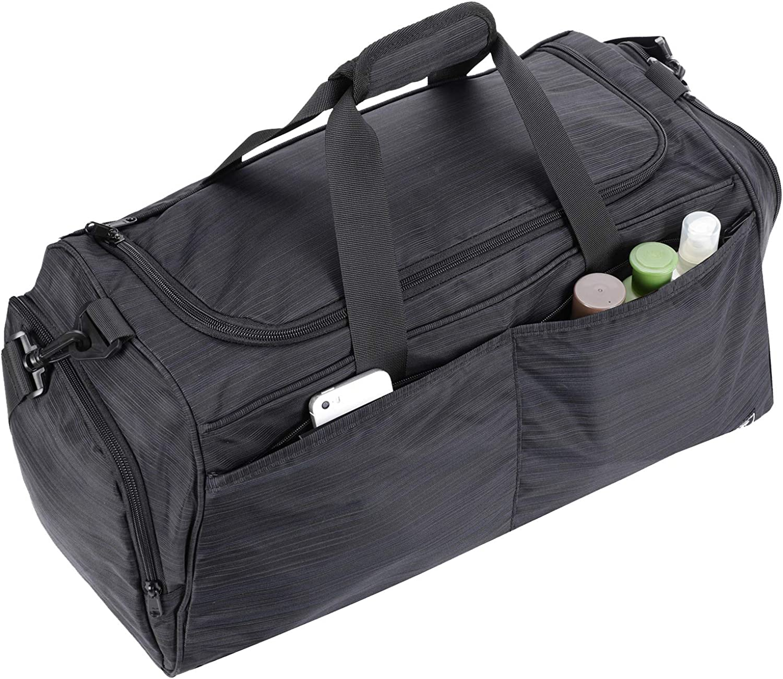 "21/"" Black Sports Gym Travel Yoga Bag with Shoe Storage Duffle Fitness Workout"