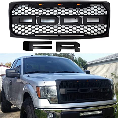 Front Grille Fits 2009 2014 Ford F150 Raptor Style Grill Kits With Amber Led Light And F R Letter Black