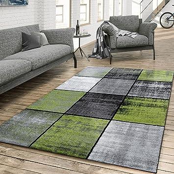 Tu0026T Design Teppich Wohnzimmer Modern Kariert Meliert Grau Schwarz Grün,  Größe:80x150 Cm