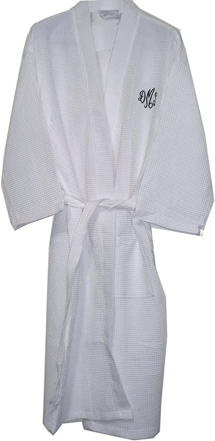 cb0ec2f3a1 Amazon.com  White Long Cotton Waffle Bathrobes Monogrammed ...