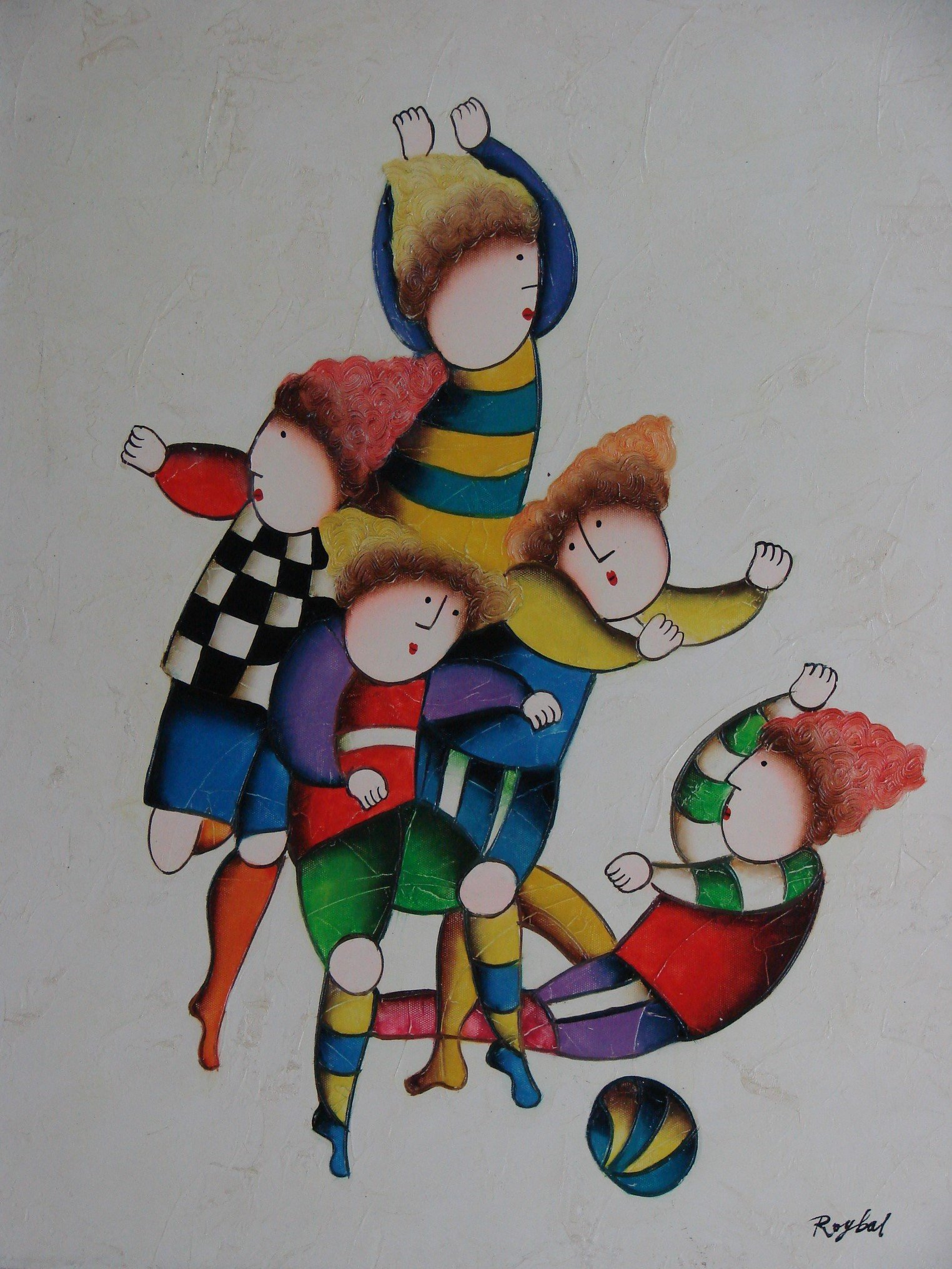 Children at Play Oil Painting by Roybal 20'' x 24'' DSC06831 by WorldOilPaintings