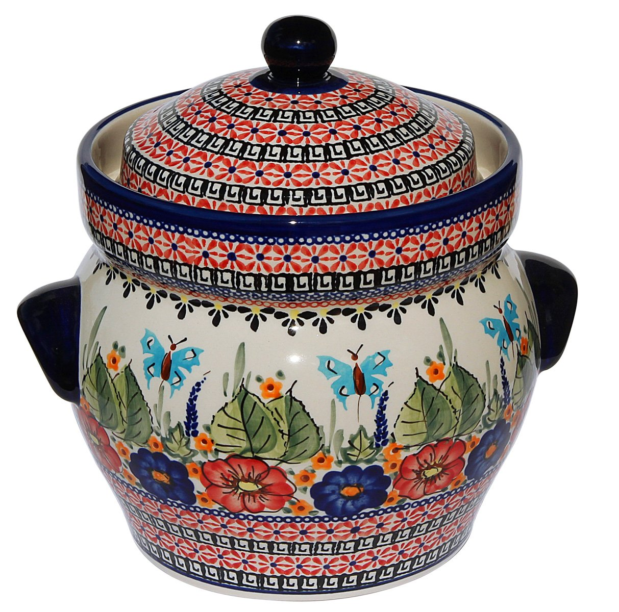 Polish Pottery Fermenting Crock Pot From Zaklady Ceramiczne Boleslawiec #1126-149 Art Signature Pattern, Height: 7.25'', Capacity: 15 Cups