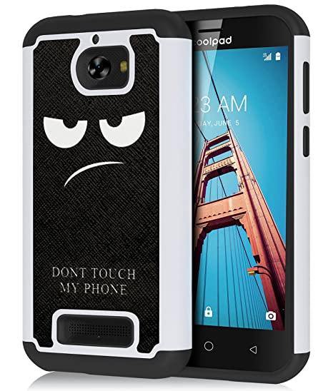 the latest 2b3e2 dbe05 CoolPad Defiant Case, OEAGO [Shockproof] Hybrid Dual Layer Defender  Protective Case Cover for CoolPad Defiant Phone/CoolPad 3632A - Don't Touch  My ...