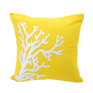 Amazon.com: Coral decorativo Throw almohada cover Amarillo ...
