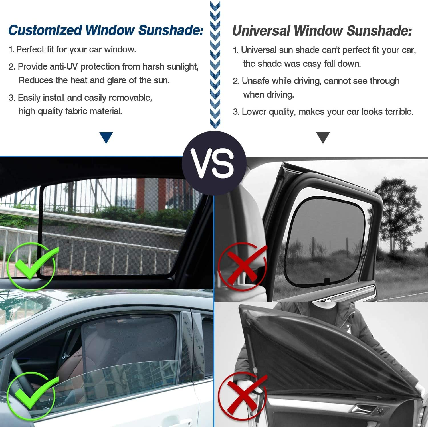 Mixsuper Car Window Shade Sun Protection Glare and UV Visor for Mercedes-Benz GLC-Class X205 GLC300 GLC350e GLC43 GLC63 SUV 2016-2020 Folding Side Window Sunshade Keeps Your Vehicle Cool 4 PCS