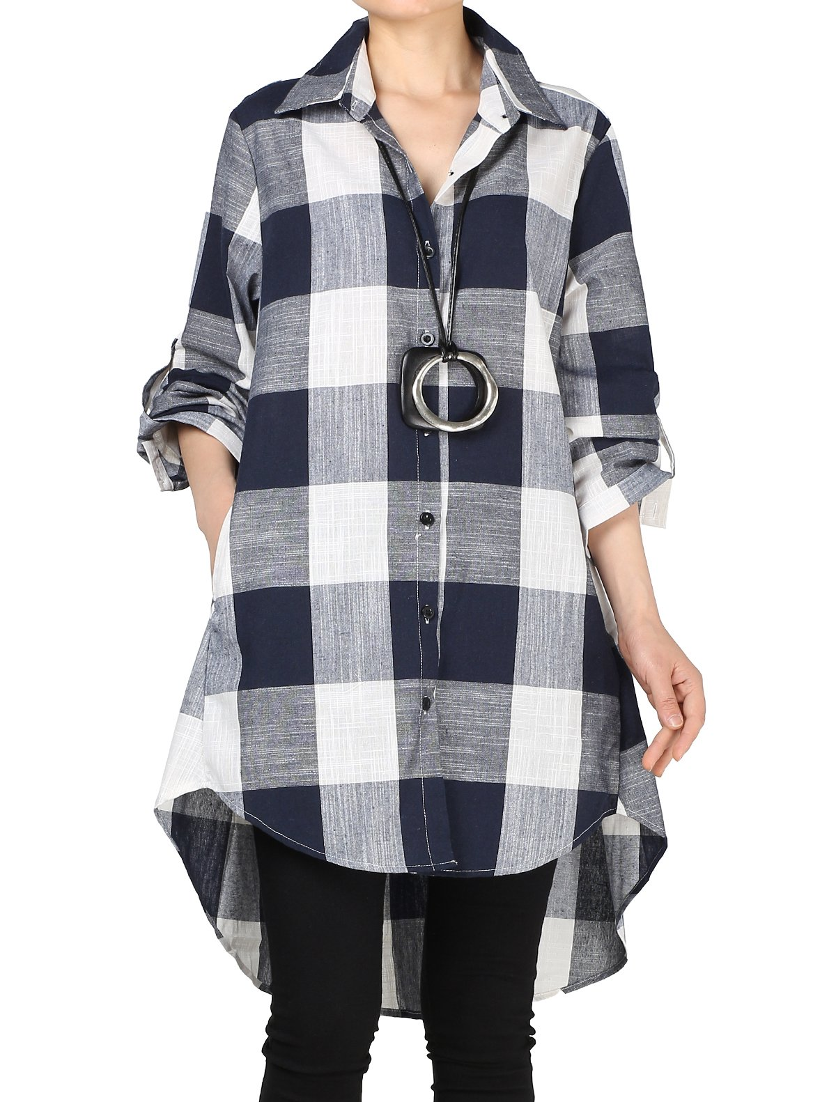 Mordenmiss Women's Loose Plaid Blouse Roll Tap Hi-Low Tunic Shirt Dress XL Navy Blue
