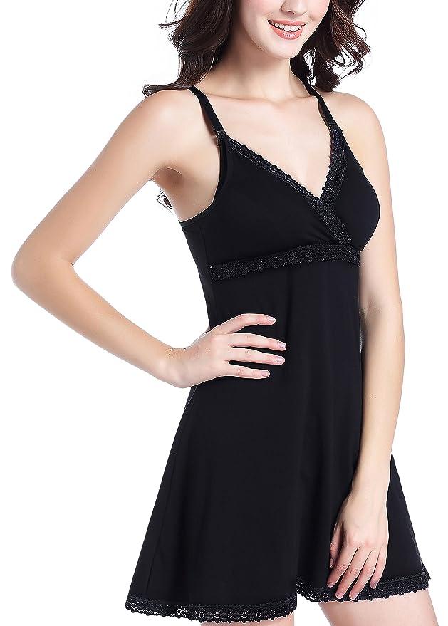 Uni-love Camisón Lactancia para Mujer Pijama Premamá Embarazo Lactancia Maternidad Camisones Embarazadas (M, Negro): Amazon.es: Ropa y accesorios