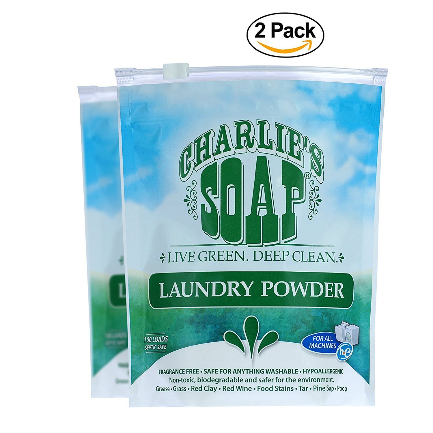 Charlie's Soap – Fragrance-Free Laundry Powder detergent – 100 Loads (2.64 lbs, 2 Pack)