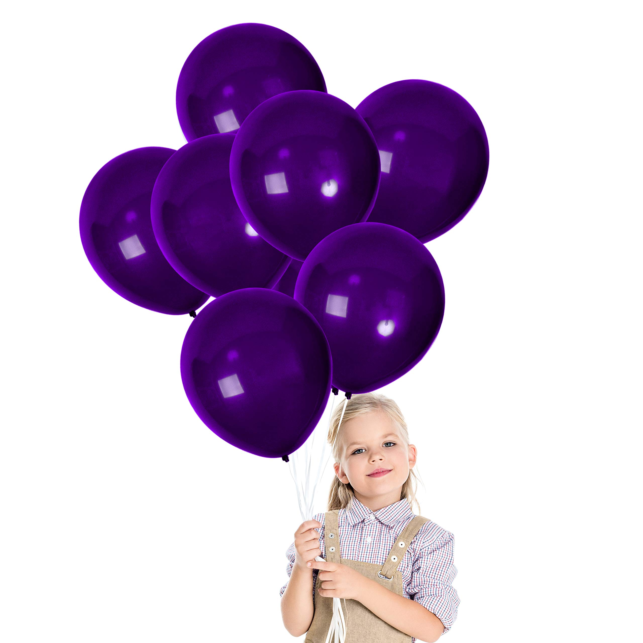 Treasures Gifted Dark Purple Mermaid Baby Shower 12 Inch Balloons Decorations Latex 100 Pack and Ribbon for Birthday Wedding Plum Bridal Under The Sea Graduation Party
