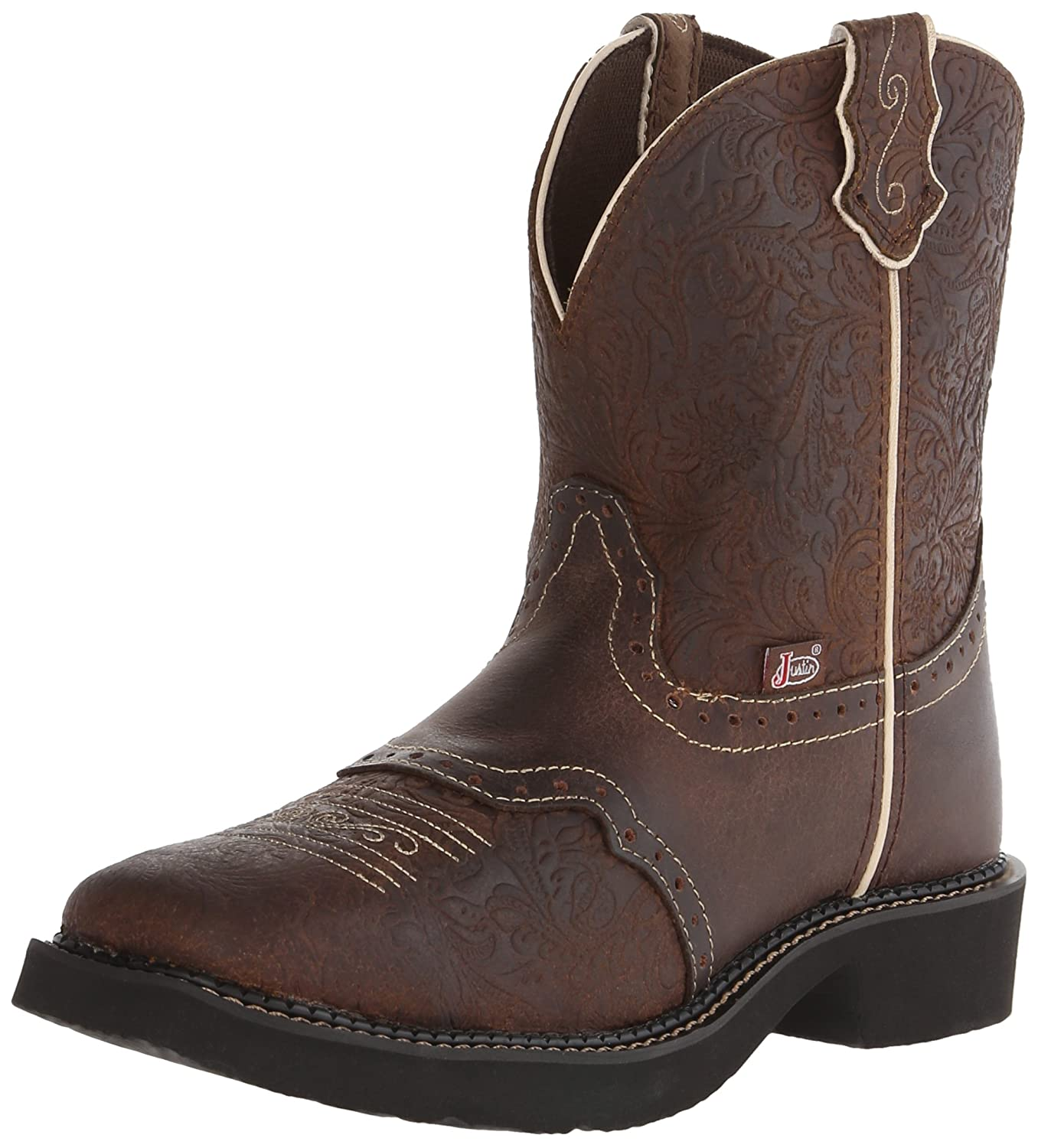 Justin Boots Women's Gypsy Collection Western Boot B00LCT5Z0I 7 B(M) US|Brown Flower Embossed