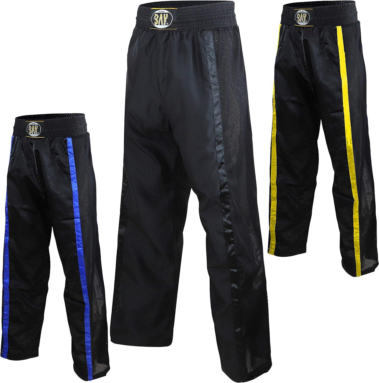 Bay Netz Gewebe Kickboxhose Hose Kickboxen Satinhose lang Mesh Kampfsporthose 5XS XXL