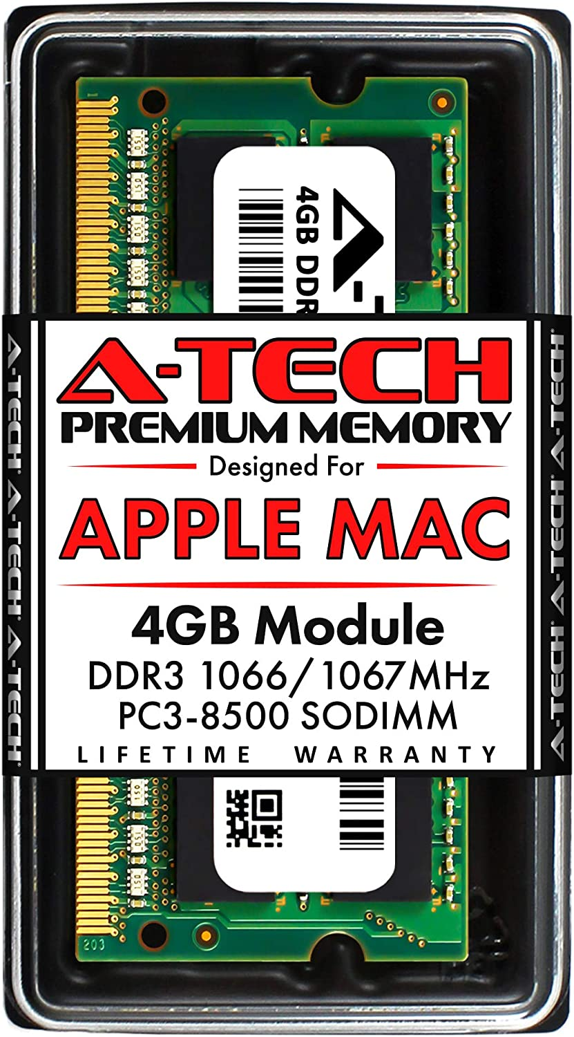 A-Tech 4GB DDR3 1066MHz / 1067MHz SODIMM PC3-8500 RAM for Apple MacBook, MacBook Pro, iMac, Mac Mini (Late 2008, Early/Mid/Late 2009, Mid 2010)