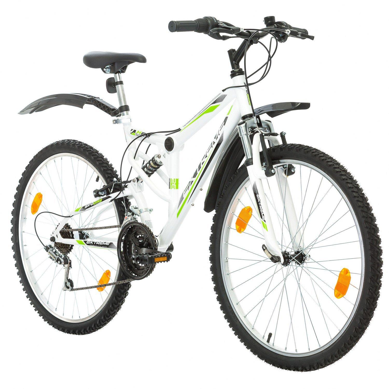 26 Zoll Multibrand Extreme Fahrrad Fully Full Suspension Mountainbike MTB, Rahmen 43 cm, vorderer und hinterer Kotflügel 18-Gang Schaltung mit Beleuchtung nach