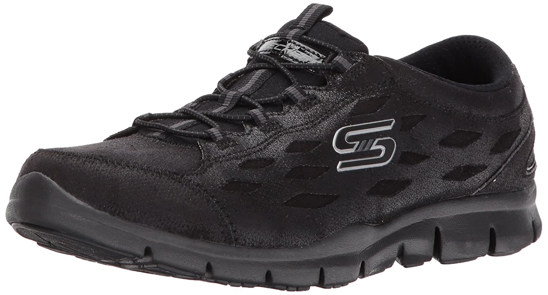 Skechers Women's Gratis Simply Serene Wide Fashion Sneaker B06X6NL8Q9 9.5 W US|Black