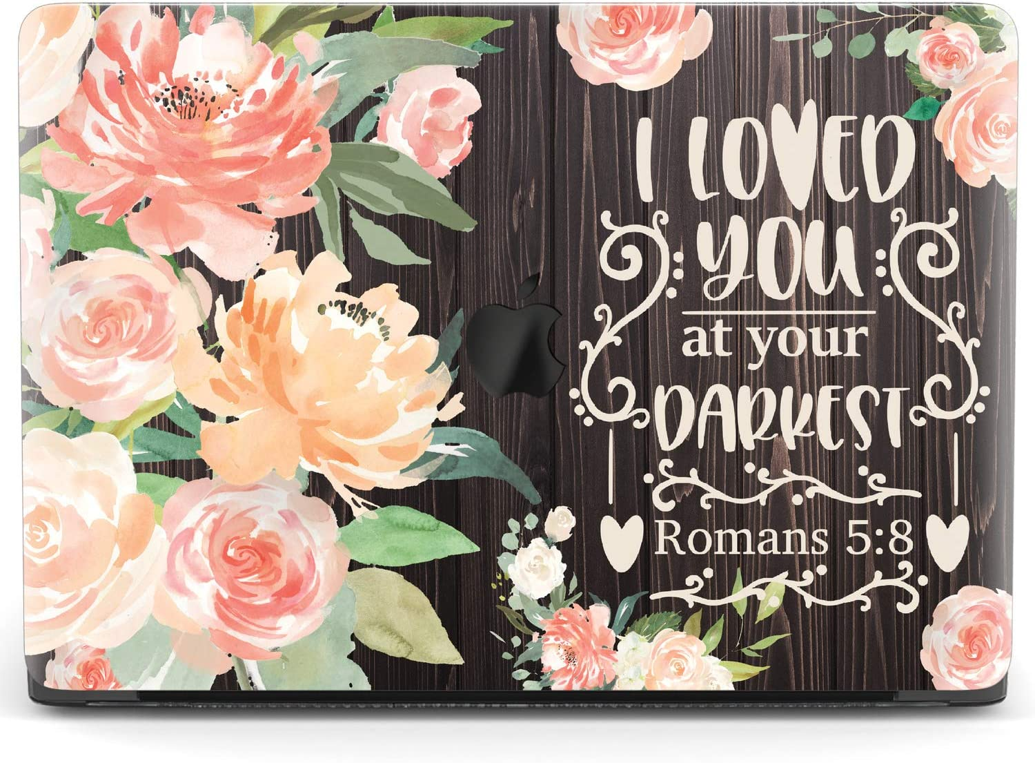 Mertak Hard Case for Apple MacBook Pro 15 2020 Air 13 inch Mac 16 Retina 12 11 2019 2018 2017 Romans 5:8 Print Quote Wood Floral Laptop Clear Bible Verse Cover Touch Bar Plastic Protective Christian