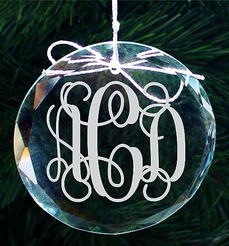 amazon com personalized script monogram crystal christmas ornament