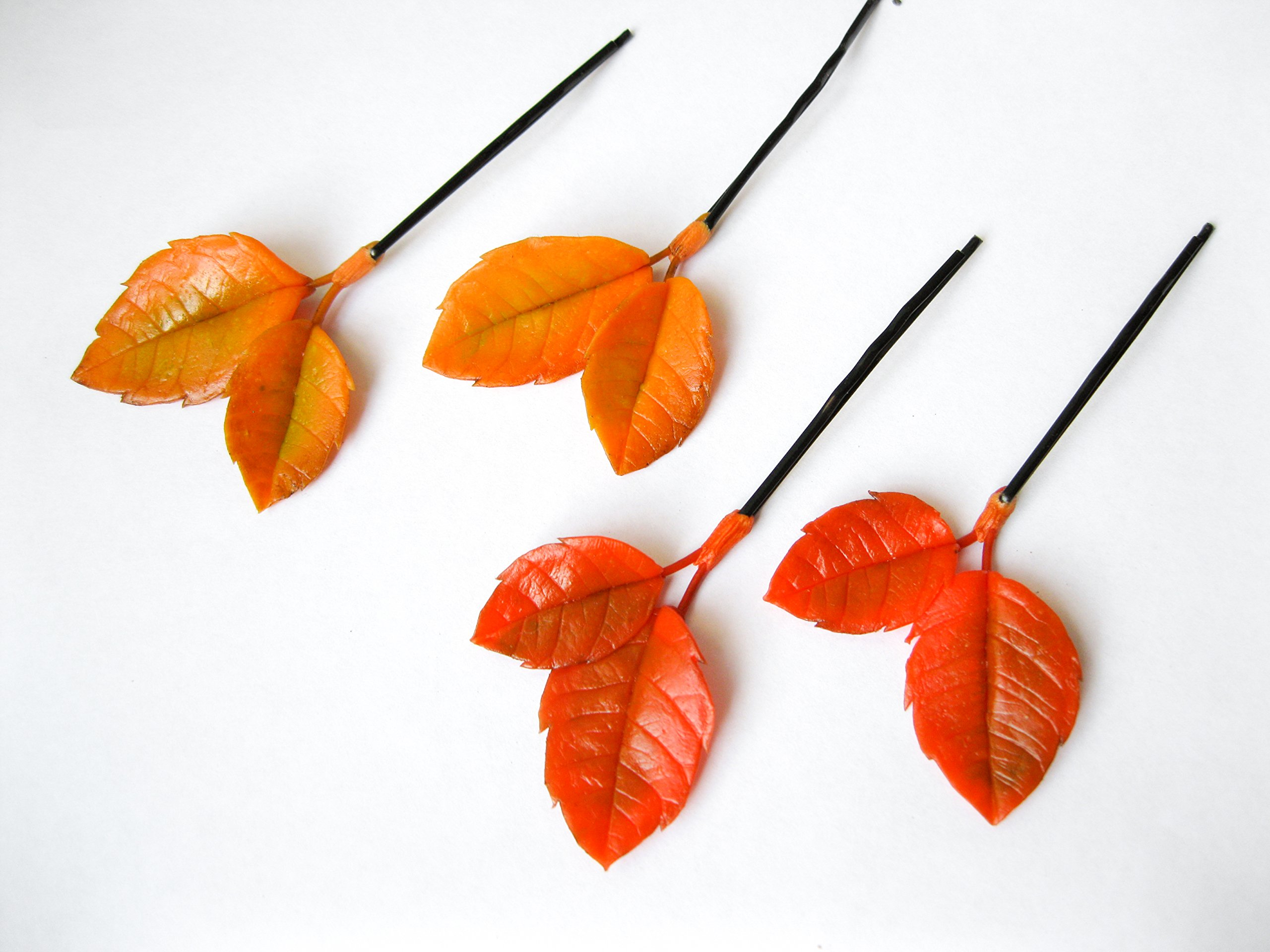 Autumn wedding bobby hair pin for bride Orange yellow fall leaves bridesmaids hairpiece set Handmade nature floral flower hair accessories botanical woodland forest Thanksgiving party rustic bohemian