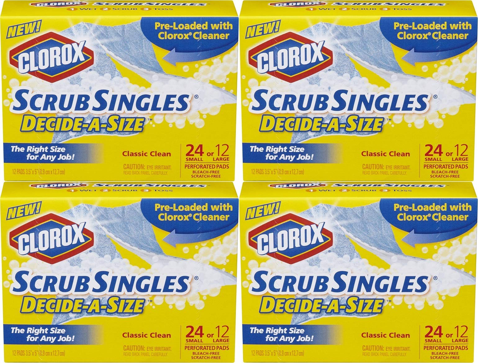 Clorox ScrubSingles Decide-A-Size, 12 Count (Pack of 4) Total 48 Pads by Clorox