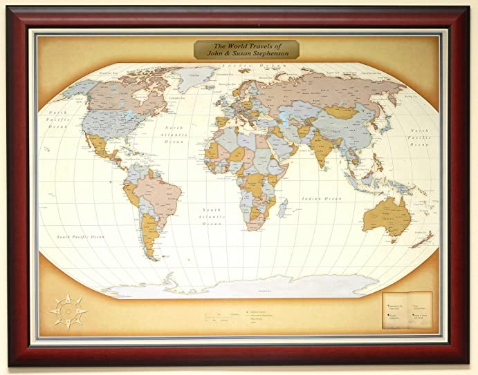 Amazon personalized push pin world travel map with custom personalized push pin world travel map with custom brushed gold plaque gumiabroncs Images