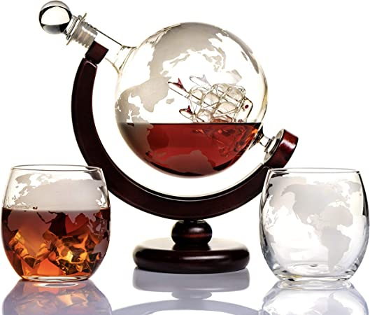 Whiskey Globe Decanter Set Etched World Globe Decanter For Liquor Bourbon Vodka With 2 Glasses In Premium Gift Box Home Bar Accessories For Men Perfect For All Kinds Of