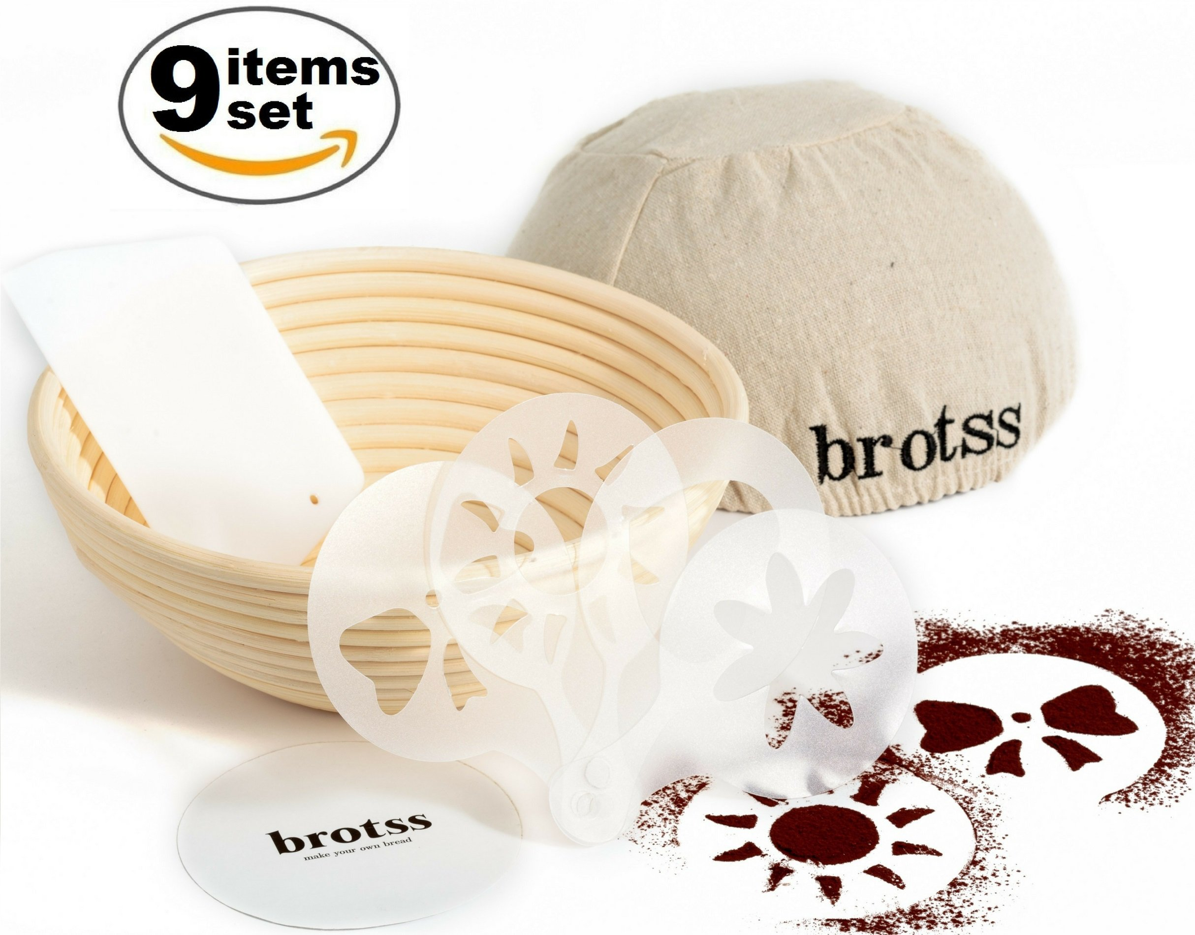 9 items Banneton Proofing Basket Set w/Artisan Bread Stencils, Cloth Liner Linen, Bowl Scraper for All Bakers/Sourdough Recipe, Brotform Rising Making Round Baked Crispy Dough Crust Boules Loaf Shape