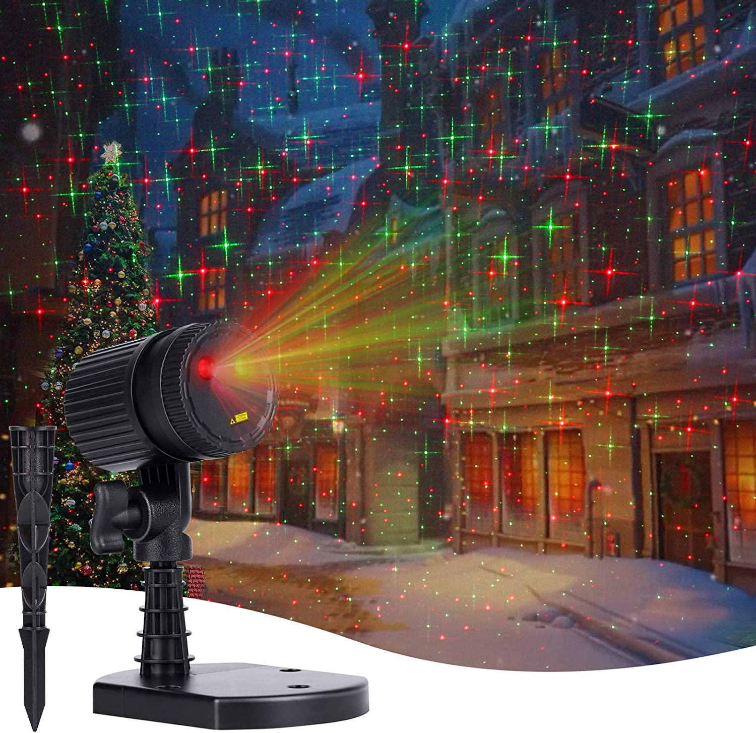 Christmas LED Projector Lights Outdoor Red /& Green Starry Projection Light 3 Working Modes Waterproof Plug in Mountable for Holiday House Indoor Outdoor Party New Year Decoration