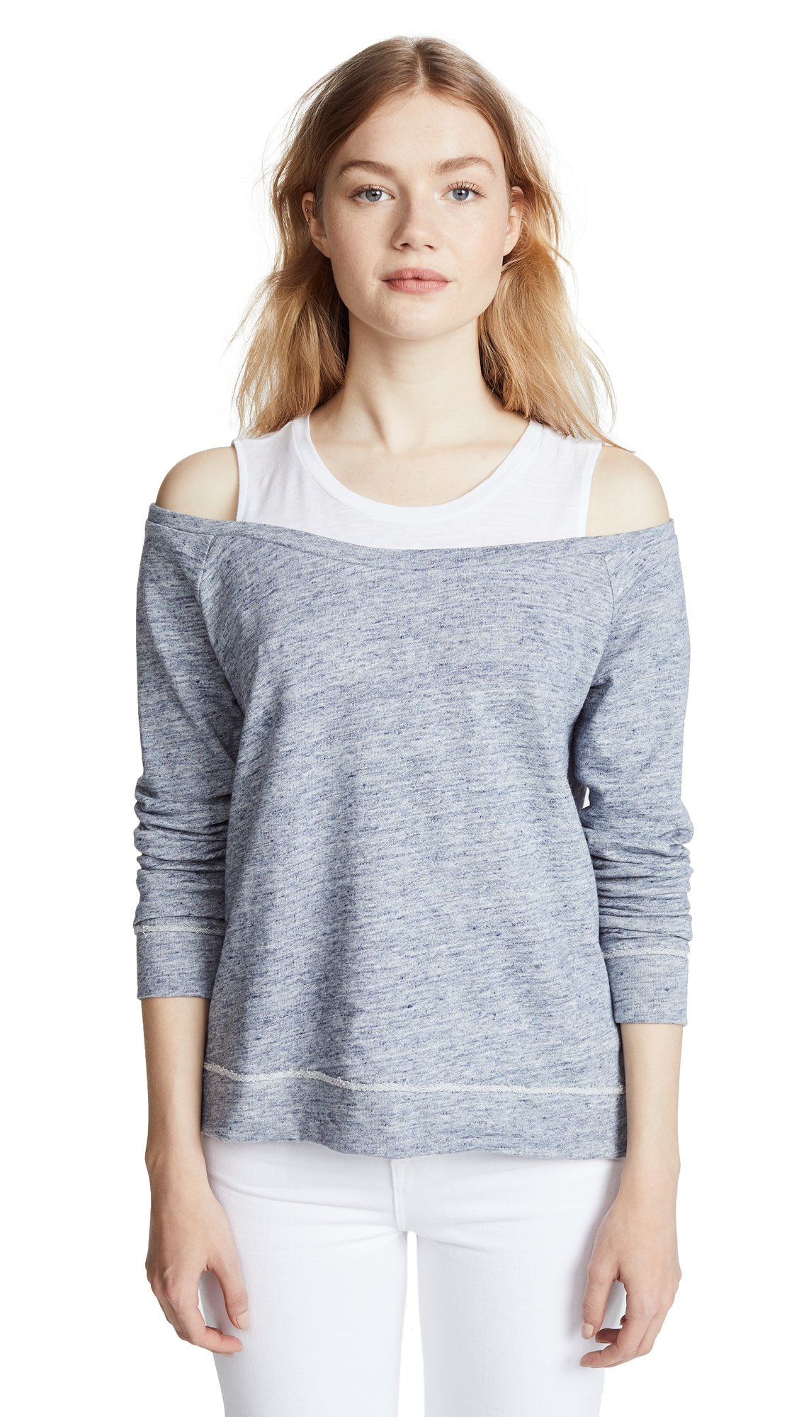 Generation Love Women's Roni Double Layered Sweatshirt, Heather Blue, Small