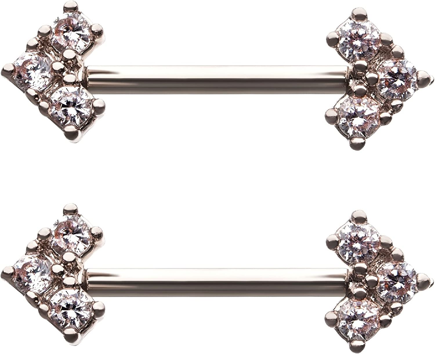 Sold as a Pair Pierced Owl CZ Crystal Flower Nipple Barbells