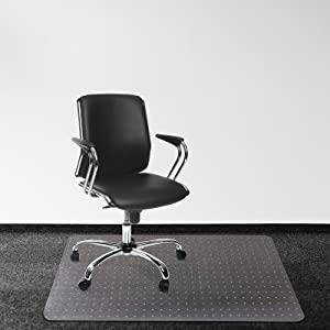 """Kuyal Office Chair Mat for Carpets, 36in X 48in PVC Home Office Chair Mat for Low and No Pile Carpeted Floors, Clear, Studded, BPA Free (36""""X 48""""Rectangle for Carpet)"""
