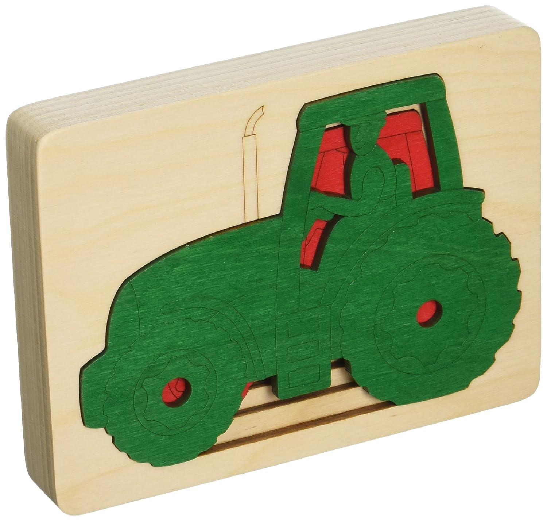 Hape - E6513 - George Luck - Puzzle - Cinq Tracteurs en Un - 6 pièces