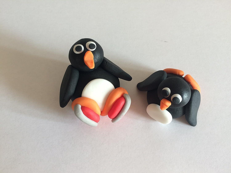 edible skating penguins cake topper decoration 3x2 amazon co uk