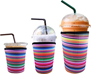 3 Pack Reusable Iced Coffee Sleeve | Insulator Cup Sleeve for Cold Drinks Beverages | Neoprene Cup Holder | Ideal for Starbucks, McDonalds, Dunkin Donuts & More (Rainbow)