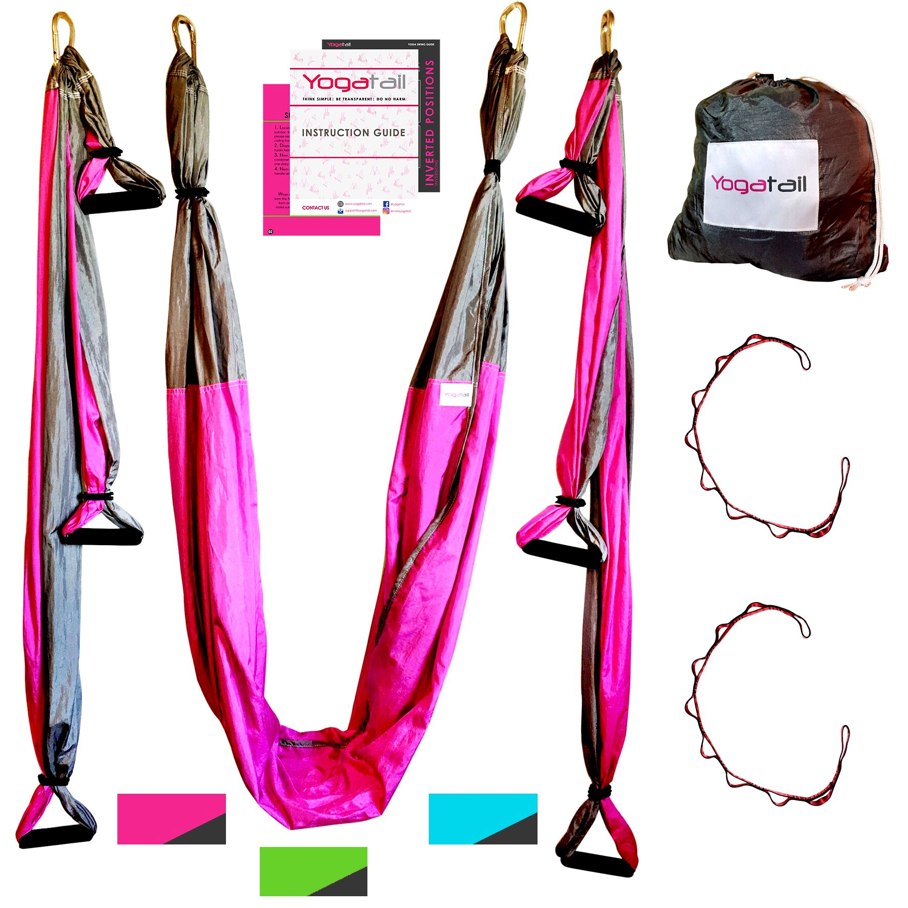 Aerial Yoga Swing - Gym Strength Antigravity Yoga Hammock - Inversion Trapeze Sling Exercise Equipment with Two Extender Hanging Straps - Blue Pink Grey Swings & Beginner Instructions.  by Yogatail (Image #2)