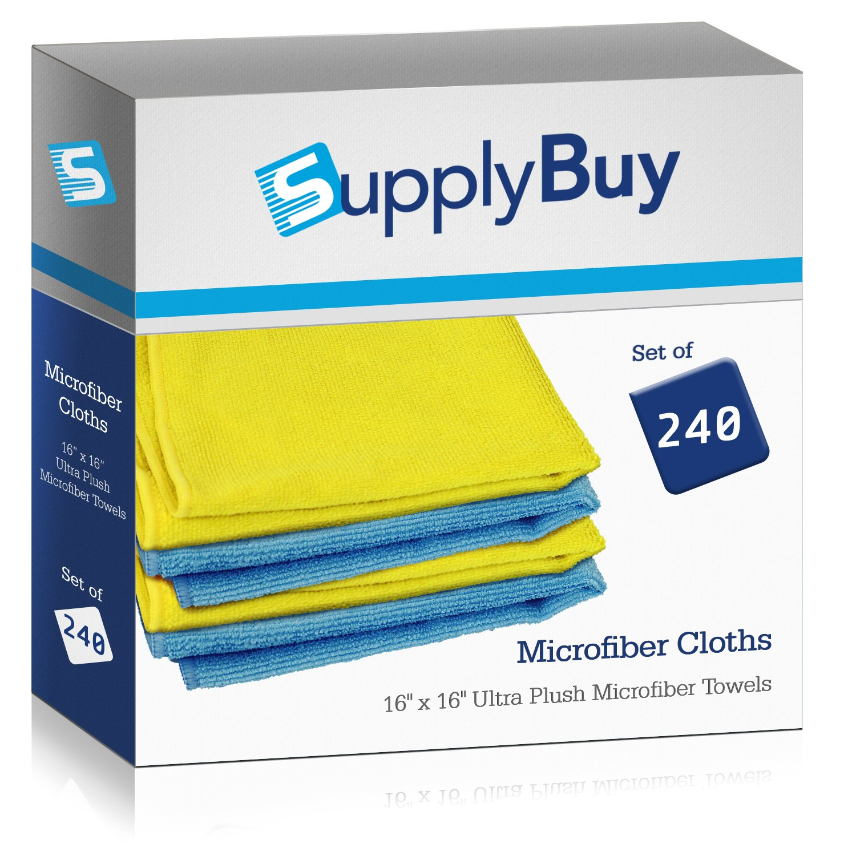 supplybuy超プレミアム豪華マイクロファイバータオル 高品質クリーニングペンCloths  パックの240 – 16 x 16 (16